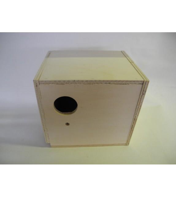 Nido in legno con cassetto ondulati e parrocchetti
